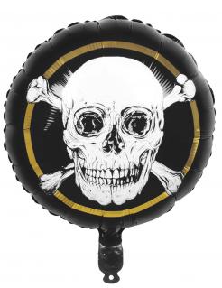 Piraten-Aluminiumballon Jolly Roger schwarz-weiss-goldfarben 45 cm