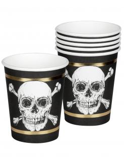 Piraten-Pappbecher Jolly Roger 6 Stück schwarz-weiss-goldfarben 250 ml