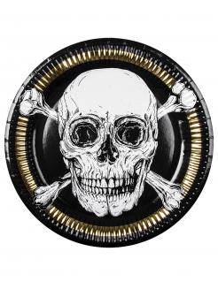 Piraten-Pappteller Jolly Roger 6 Stück schwarz-weiß-goldfarben 23 cm
