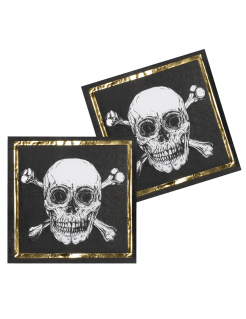 Piraten-Servietten Partydeko 12 Stück Kindergeburtstag schwarz-weiss