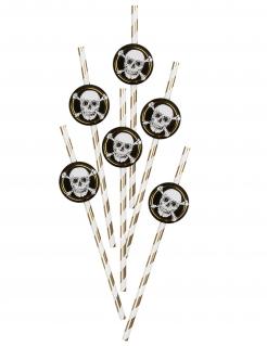 Piraten-Strohhalme aus Pappkarton 6 Stück goldfarben-schwarz-weiß 24 cm