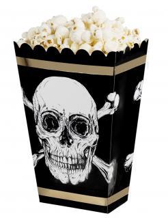 Piraten-Popcornschachteln 4 Stück schwarz-weiß-goldfarben 19 x 13,5 cm