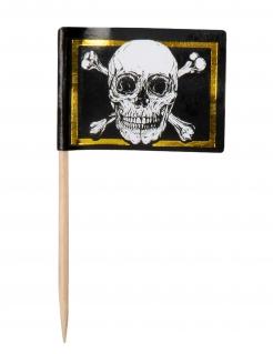 Piraten Snack-Spieße 24 Stück schwarz-weiß-goldfarben 7 cm
