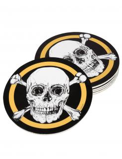 Piraten-Untersetzer Jolly Roger 6 Stück schwarz-weiß-goldfarben 10 cm