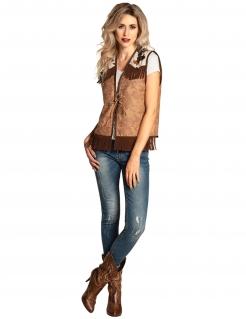 Wilde Cowgirl-Weste für Damen braun-beigefarben