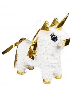 Einhorn Mini-Piñata weiß-goldfarben 21 x 17 cm