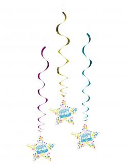 Happy Birthday-Hängespiralen 3 Stück bunt 85 cm