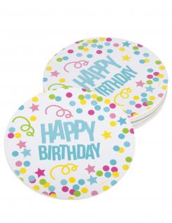 Happy Birthday-Untersetzer 6 Stück bunt 10 cm