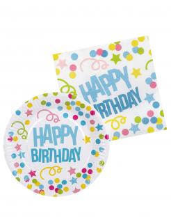 Geschirr-Set Happy Birthday für 6 Personen 3-teilig bunt