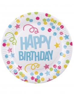 Geburtstag-Partyteller Pappteller Happy Birthday Tischdeko 6 Stück bunt 23 cm