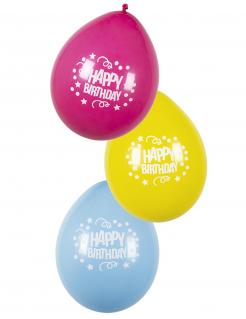 Geburtstag-Luftballons Partydeko 6 Stück bunt 25 cm