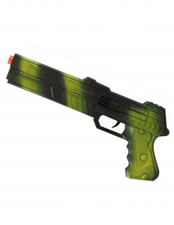 Soldaten-Pistole mit Tarnmuster schwarz-grün 30cm