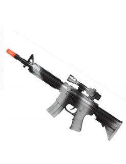Sturmgewehr für Soldaten Spielzeug-Maschinengewehr silber-schwarz 45cm