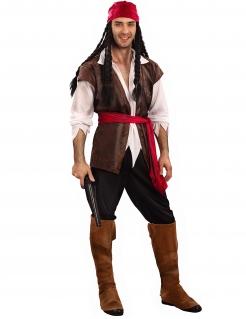 Piraten-Kostüm in Übergrösse Karneval-Kostüm 6-teilig braun-rot-weiss