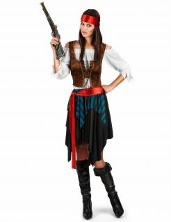 Piraten-Kostüm in Übergrösse Karnevalskostüm in XXL für Damen schwarz-blau-rot