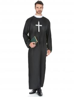Priester-Kostüm in Übergrösse Karneval-Kostüm schwarz-weiss