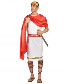 Römer-Kostüm in Übergröße Cäsar-Kostüm Karnevalskostüm in XXL für Herren rot-weiss-gold
