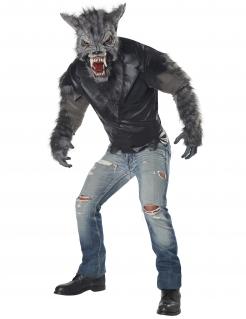 Werwolf-Kostüm für Erwachsene zu Halloween grau-schwarz