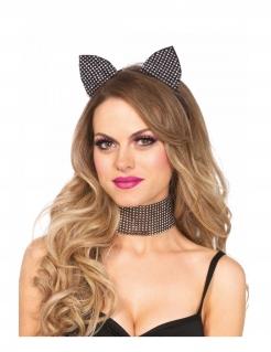 Katzen-Accessoire-Set Deluxe Haarreif und Choker Strass schwarz-silber