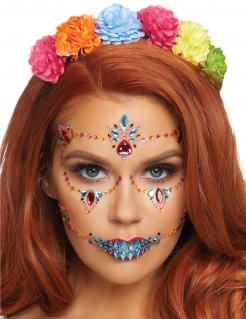 Tag der Toten-Glitzersteine Halloween Make-up bunt