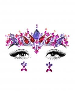 Schmuck-Steine für Erwachsene Einhorn alternatives Make-up violett-rot