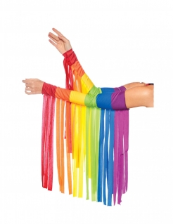 Regenbogen-Armstulpen mit Fransen CSD-Accessoire bunt
