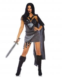Thronkriegerin-Kostüm für Damen Luxuskostüm grau-schwarz