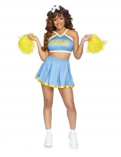 Cheerleader-Kostüm für Damen Karnevalskostüm blau-gelb