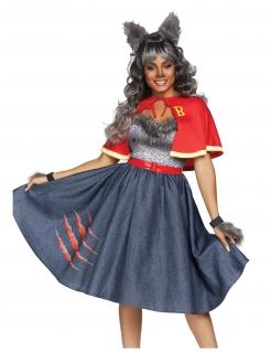 Sexy Werwolf-Schülerin Damenkostüm Halloweenkostüm grau-rot