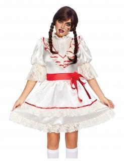 Horror-Puppenkostüm für Damen Luxuskostüm weiss-rot