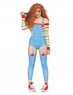 Sexy Mörderpuppen-Kostüm für Damen Horrorpuppen-Kostüm blau-bunt