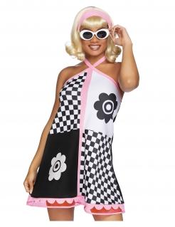 Ausgeflipptes 60er-Kostüm für Damen Faschingskostüm schwarz-weiss