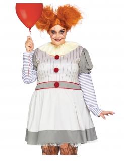 Gruseliges Clown-Kostüm für Damen in Übergröße Halloween-Kostüm grau-rot