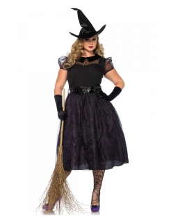 Dunkles Hexenkostüm in grossen Grössen Halloween-Kostüm schwarz