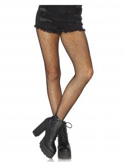 Netztstrumpfhose für Damen mit Metall-Nieten Accessoire schwarz