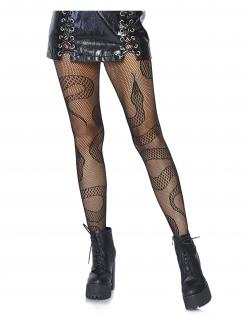 Netzstrumpfhose für Damen mit Schlangenmuster Accessoire schwarz