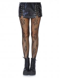 Pentagramm-Netzstrumpfhose für Damen Accessoire schwarz