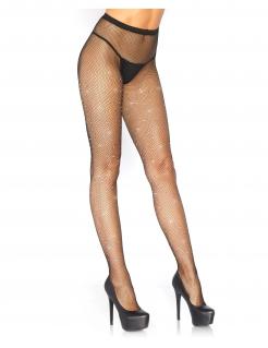 Netztstrumpfhose für Damen feinmaschig mit Strasssteinen Accessoire schwarz-silber