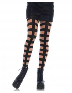 Strumpfhose für Damen Streifen Accessoire haut-schwarz