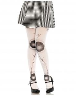 Puppen-Strumpfhose für Damen mit Gelenken Accessoire weiss-schwarz