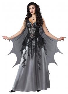 Vampir-Gräfin Kostüm für Damen Halloweenkostüm schwarz-grau