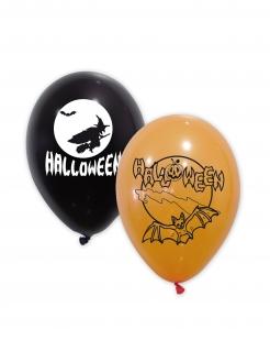 Halloween Latexballons 10 Stück schwarz-weiss-orange 30 cm
