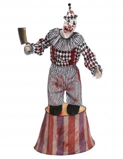 Horrorclown-Zwerg auf Podest Halloween-Kostüm weiss-schwarz-rot
