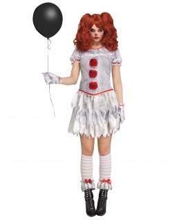 Gruseliges Killerclown-Kostüm für Damen weiss-rot