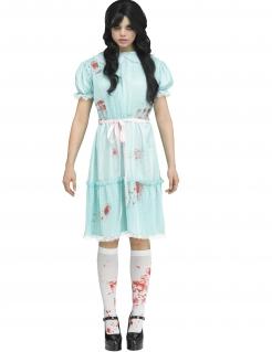 Blutiges Geister-Zwilling-Kostüm für Damen Halloweenkostüm blau-rot