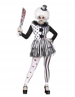 Horror-Clown-Kostüm für Damen weiss-schwarz