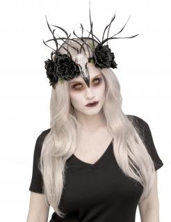 Raben-Krone Halloween-Accessoire schwarz-weiss