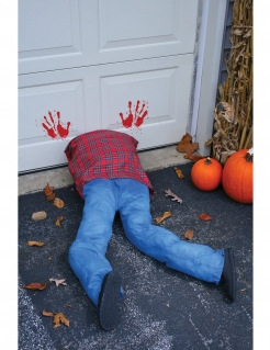 Geköpfter Mensch Halloween Horror-Deko blau-rot