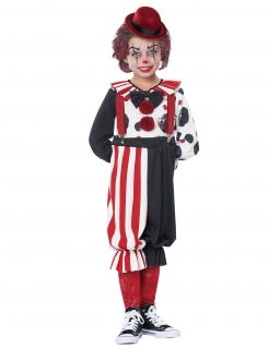 Frecher Clown Kinderkostüm schwarz-weiss-rot