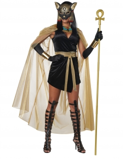 Ägyptische-Göttin-Kostüm Bastet-Kostüm Karneval-Kostüm schwarz-gold